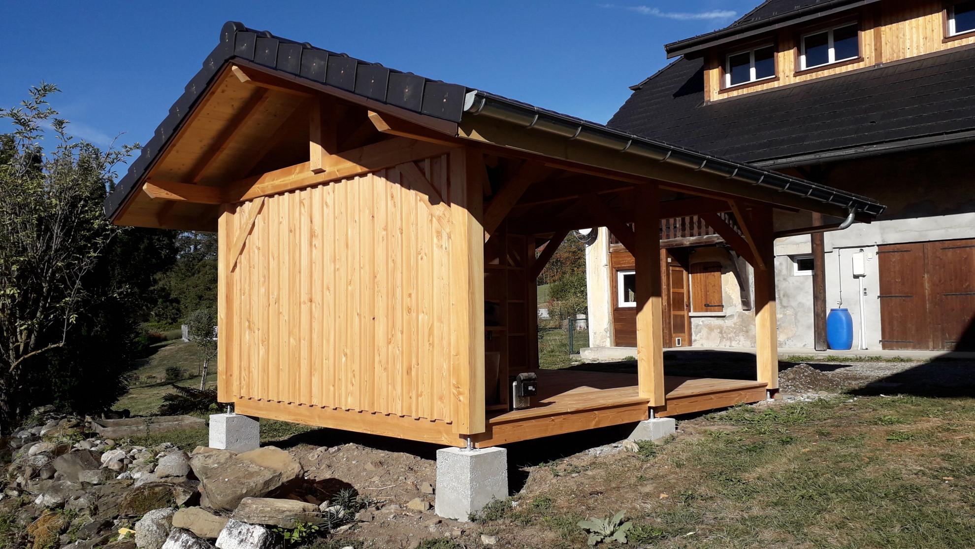 Abri De Jardin En Pin Douglas nbc bois - abri de jardin/terrasse couverte